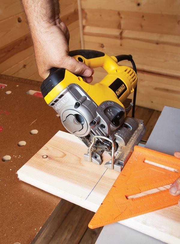 Cutting wood for a DIY chickadee nesting box