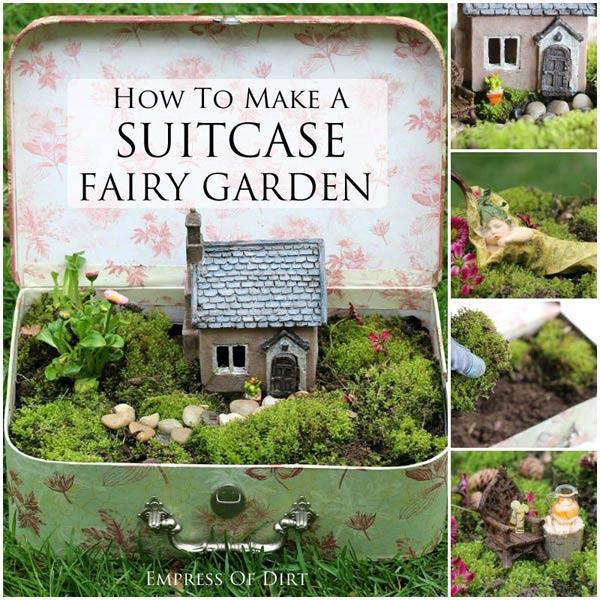 How to make a suitcase fairy garden.