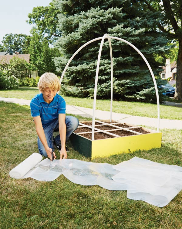 Step 5: Cutting plastic for dome greenhouse.
