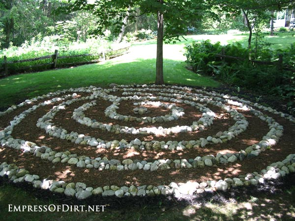 Stone circle maze in the garden