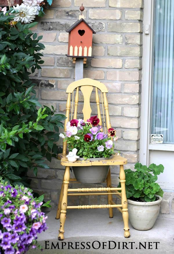 Painted yellow chair: Gallery of garden art chair ideas