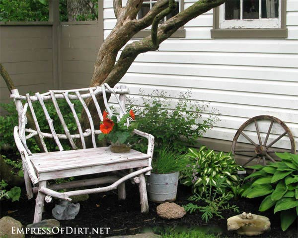 Rustic white twig garden bench: Gallery of garden art chair ideas