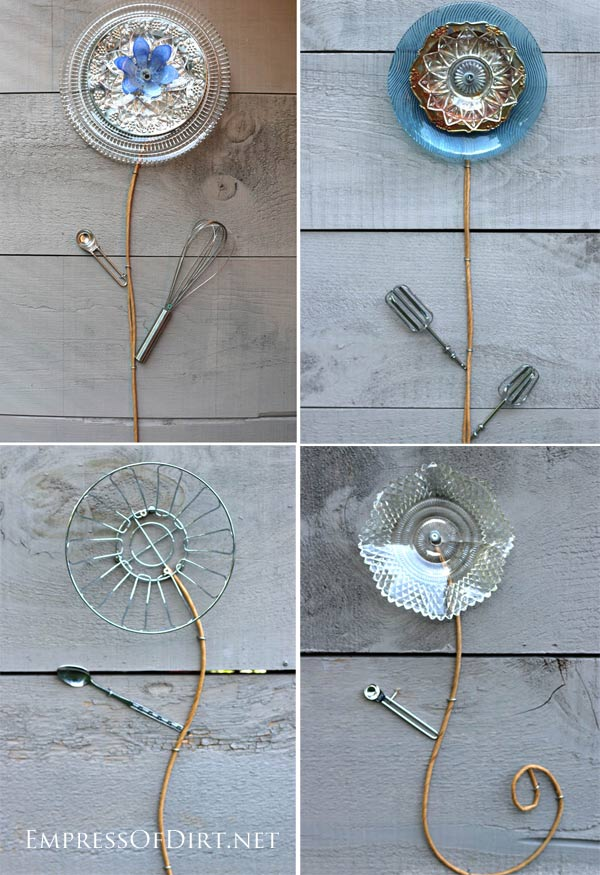 Do It Yourself Home Decorating Ideas: DIY Kitchen Dish And Cutlery Garden Art Flowers
