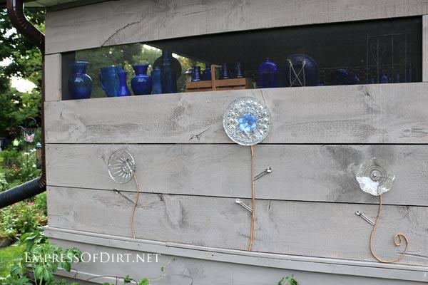 DIY Kitchen Utensil Garden Art Flowers On Patio Wall