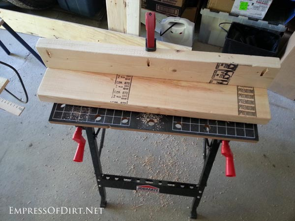 Assembling legs for DIY workbench | empressofdirt.net
