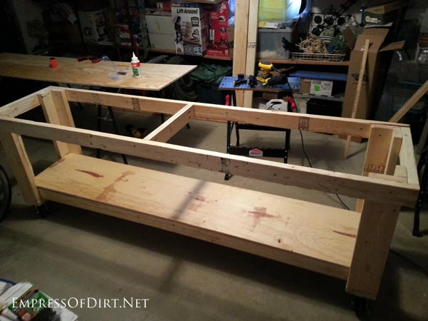 Assembling DIY workbench | empressofdirt.net