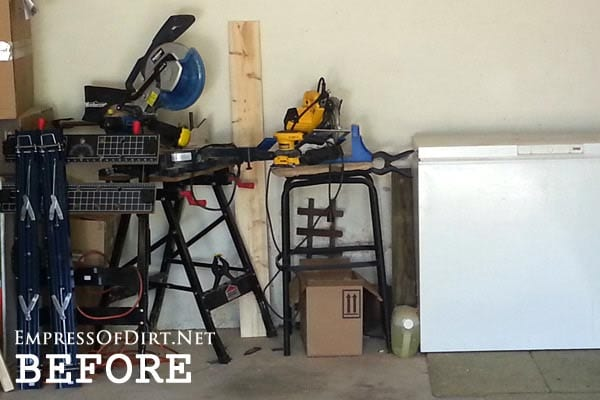 Work area before building a DIY workbench on wheels | empressofdirt.net