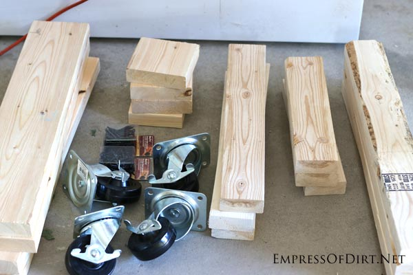 Wood cuts and wheels for building a DIY workbench | empressofdirt.net