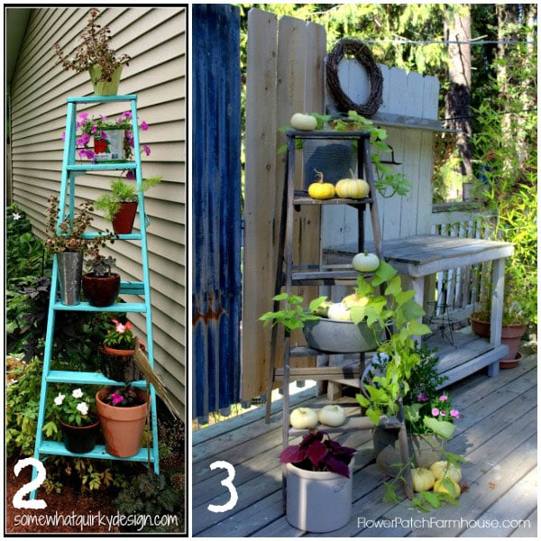 Decorated old wooden ladders in the garden | empressofdirt.net