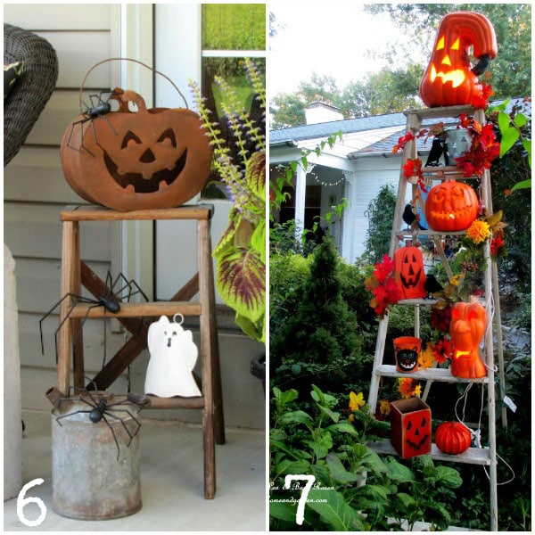 Old ladders used to display Halloween decorations | empressofdirt.net