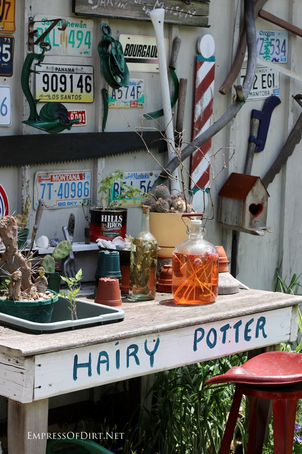 Hairy Potter Garden Bench | empressofdirt.net