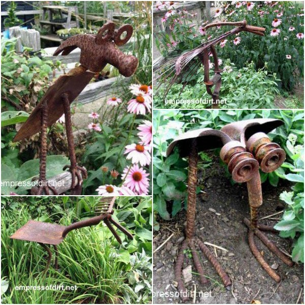 Rusty metal tools made into cute creatures at the The Rusty Garden Art Gallery empressofdirt.net.