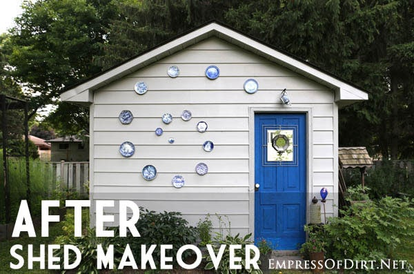 Garden shed with spiral of plates - see more shed ideas at empressofdirt.net