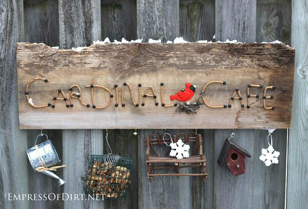Cardinal Cafe garden art sign