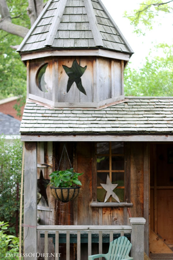 Moon and star shed - see more creative garden shed ideas at empressofdirt.net