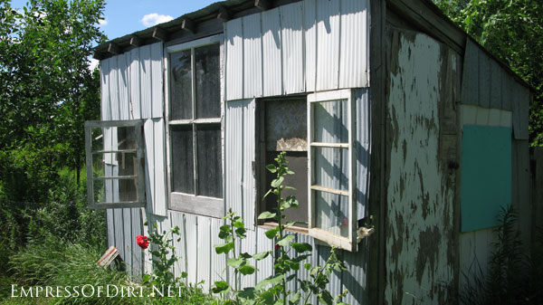 Scrap metal shed - see more creative garden shed ideas at empressofdirt.net