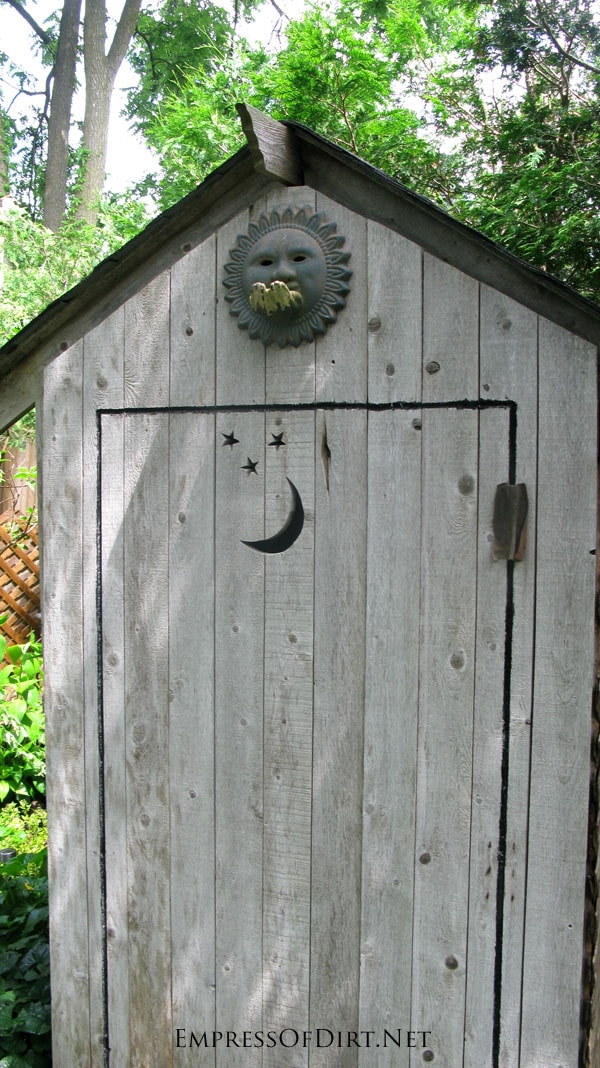 Moon and Stars Tool Shed - see more creative shed ideas at empressofdirt.net