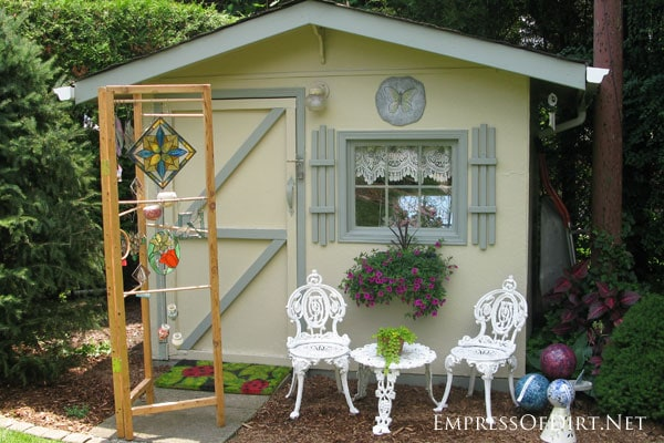 Tiny yellow garden shed - see more creative garden shed ideas at empressofdirt.net