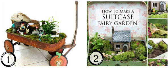 Make a fairy garden in a vintage suitcase or child's wagon! Plus more sweet DIY garden ideas at empressofdirt.net