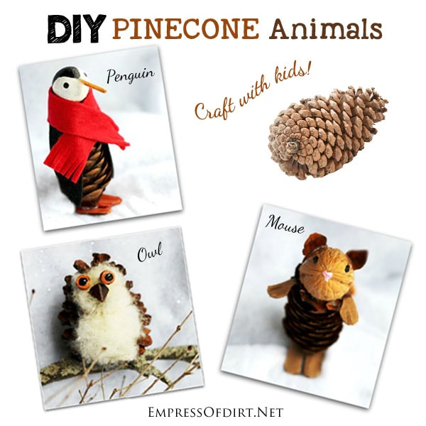 How to make pinecone animals including owls, penguins, and mice.