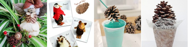 15 Pinecone Craft and Decor Projects including fairies, tiny animals, fire starters, wreaths, ornaments, and more.