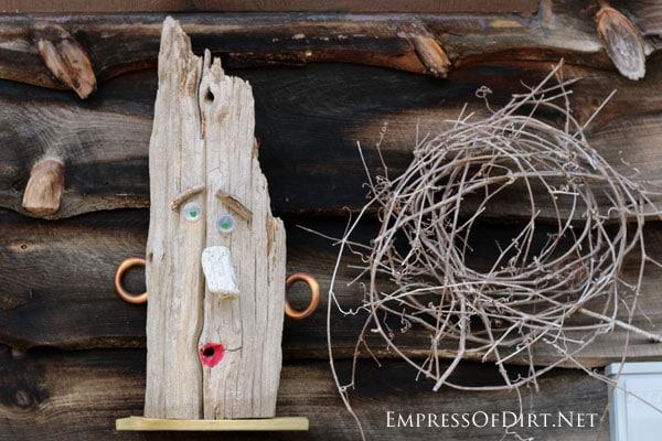 Fun garden art face | 15 Creative Folk Art Ideas in the garden at empressofdirt.net