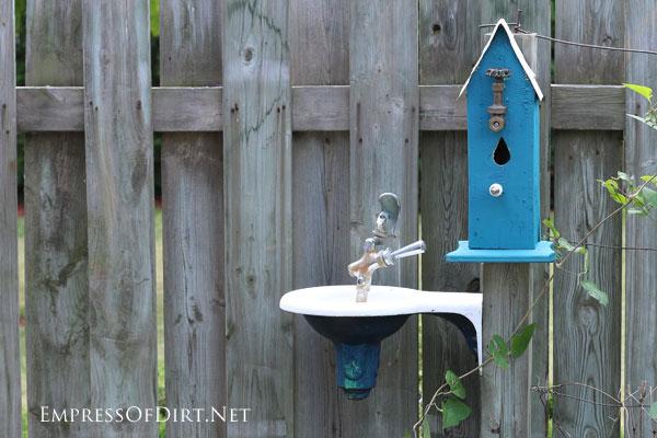 Old drinking fountain bird bath| 15 Creative Folk Art Ideas in the garden at empressofdirt.net