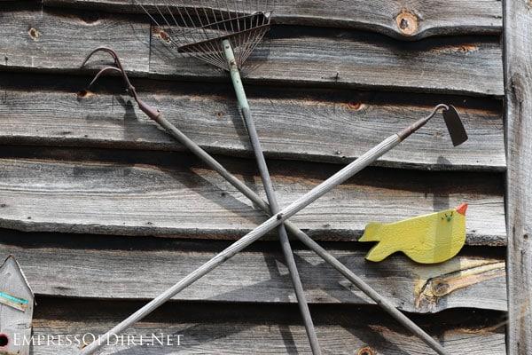Use old garden tools as garden junk/art   15 Creative Folk Art Ideas in the garden at empressofdirt.net