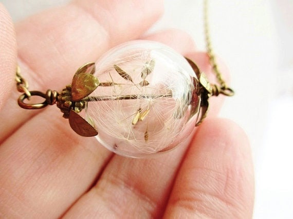 Dandelion seed glass orb terrarium necklace (available in gold or silver) by ViperCoraraDesigns on Etsy