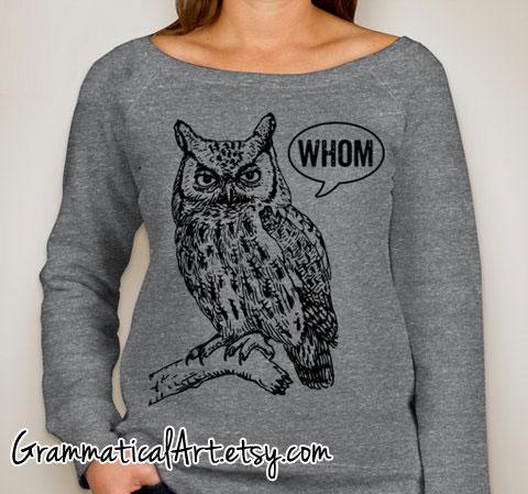 Owl sweatshirt by GrammaticalArt on Etsy