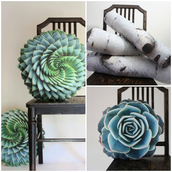 Succulent pillows (and birch logs and pinecone) by Plantillo on Etsy