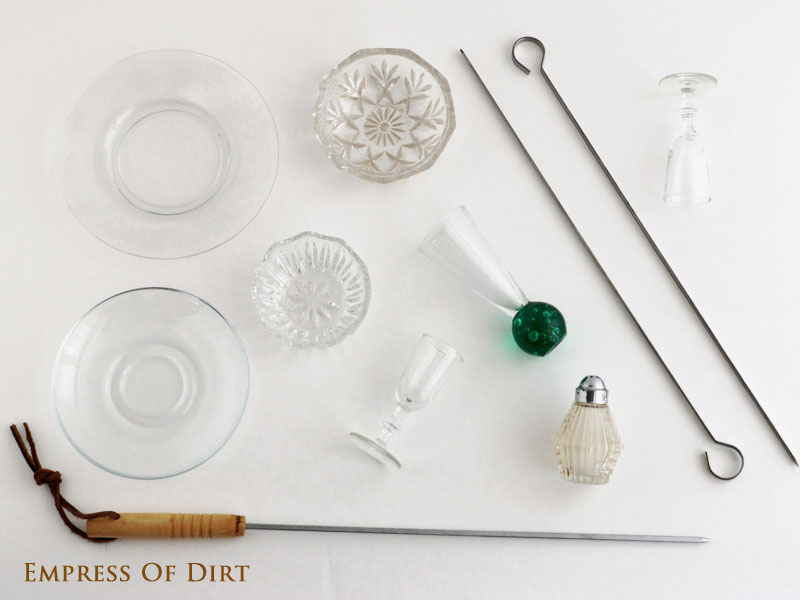 Supplies for DIY Pickle Dish Garden Flowers - how to turn plain glass dishes into sweet garden art