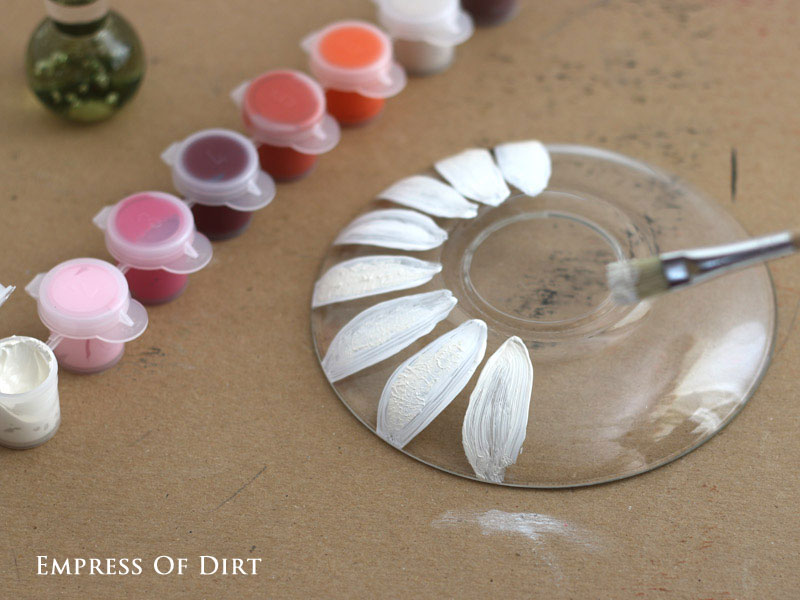 DIY Pickle Dish Garden Flowers - how to turn plain glass dishes into sweet garden art