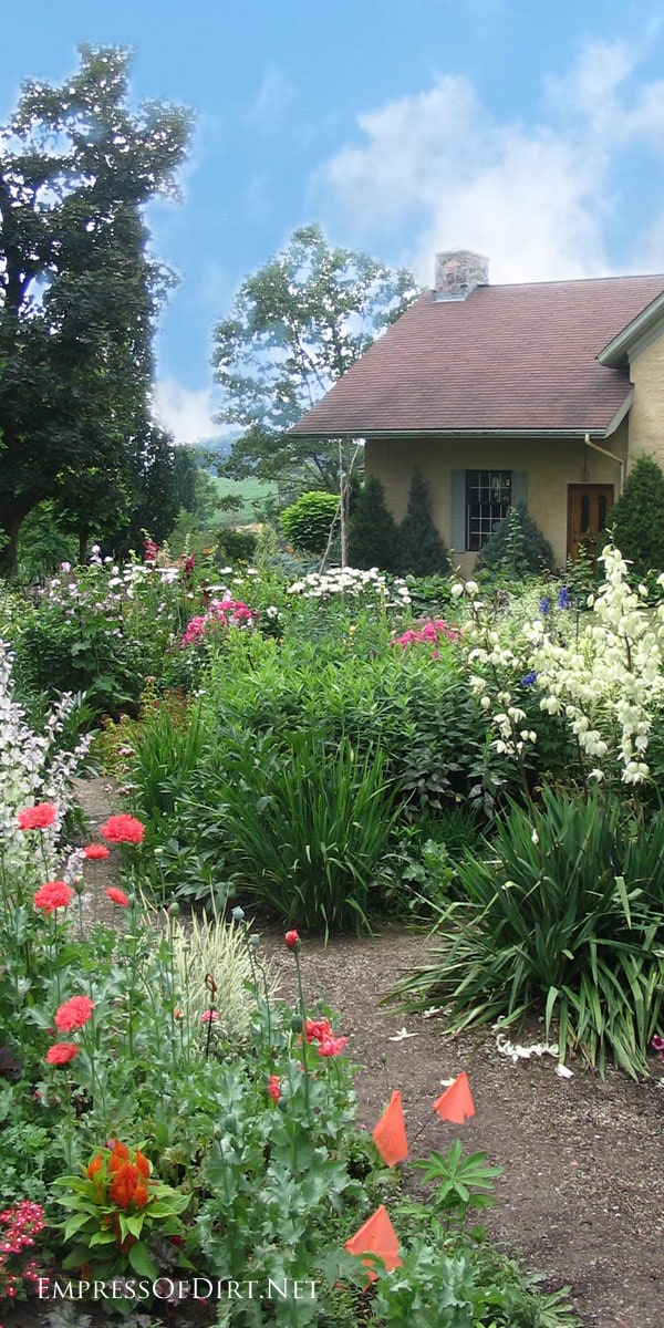 Country garden in Ontario, Canada with a cottage-style flower beds