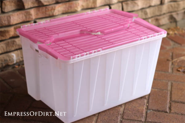 Opaque plastic bins make great mini greenhouses! Use them to get seedlings ready for planting and to protect other tender plants.