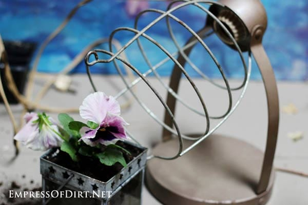 How to make junk garden planters - turn junk shop finds like this old chick heater into beautiful flower containers
