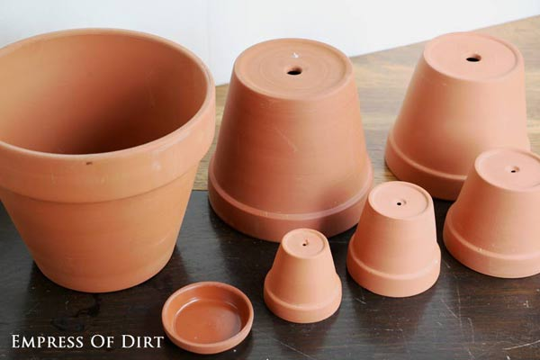 Clay flower pots.