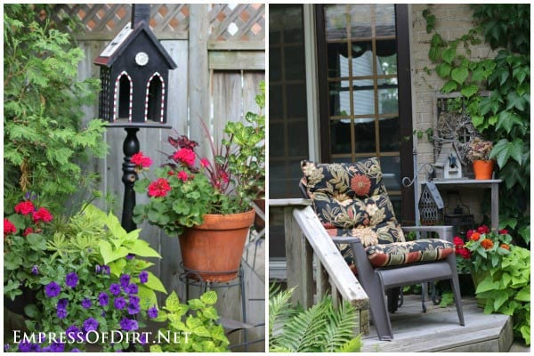 Kick your garden up a notch with these 12 Colourful Garden Ideas at empressofdirt.net. Pick a colour to use throughout the garden.