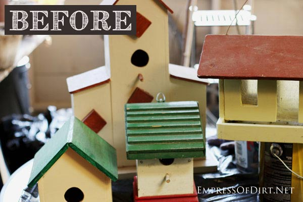 Transform plain birdhouses into colourful garden art with patio craft paints! Here they are before their makeover.
