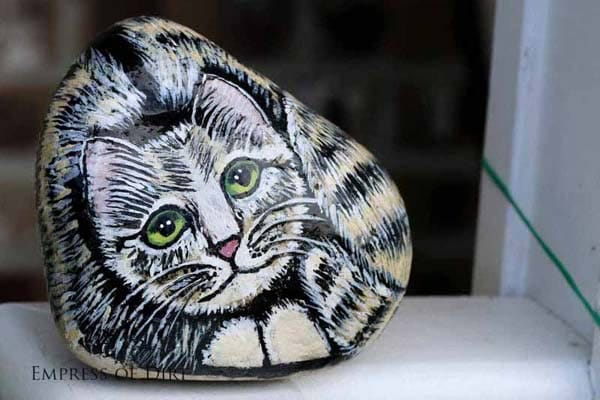 Cat hand-painted on a rock.