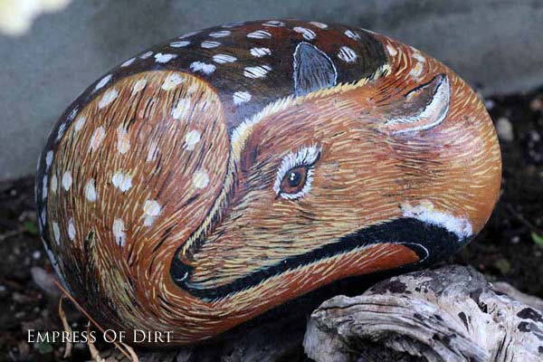 Baby deer fawn sleeping painted on a rock.