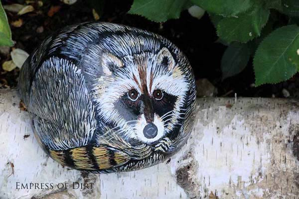 Racoon painted on a rock.