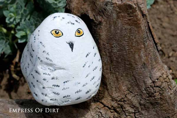 Snowy owl painted on a rock.
