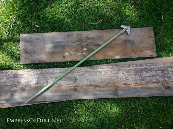 Scrap wood for making a DIY wheelbarrow garden trug.