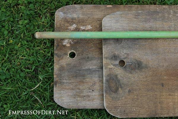 Wood pieces for making a DIY wheelbarrow garden trug.