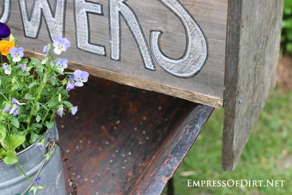 Detail of DIY wheelbarrow garden trug.