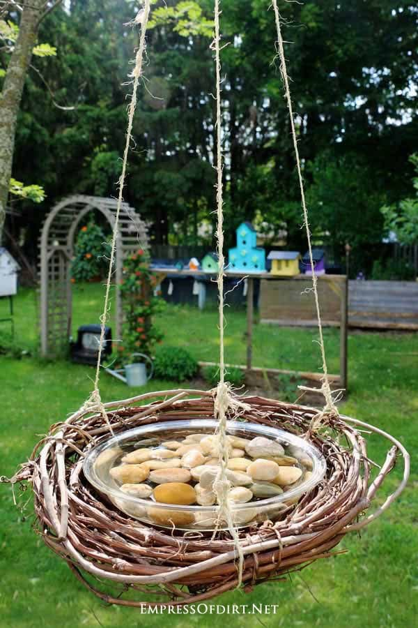 Make a DIY bird, bee, and butterfly water feeder from repurposed household items.