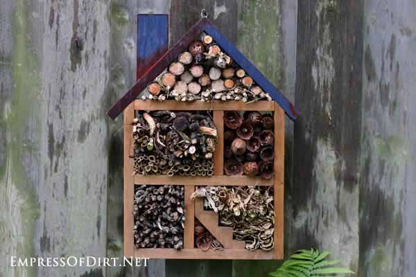 Bug houses are a fun way to attract beneficial insects to your garden. This project uses a repurposed thrift shop shelf and can be made in an afternoon.