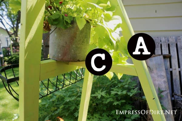 Here's an easy way to build a garden art easel to display flower planters and garden art. It costs around $10 to make and takes about an hour plus painting time. Garden art easels are a great way to add vertical interest to the garden and display outdoor art.