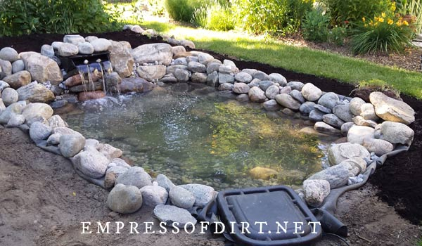 An 8 x 10 foot backyard pond surrounded by stones with small waterfall.